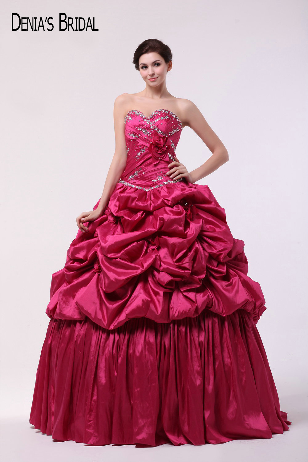 2017 Dark Pink Ball Gown Evening Dresses with Strapless Neckline Ruffles Beaded Floor Length Party Prom Gowns