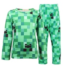 цены Halloween Kid Boys Minecraft Halloween Costume Children Teen Creeper Costumes Spring Autumn 2 Piece Set 4-12Y