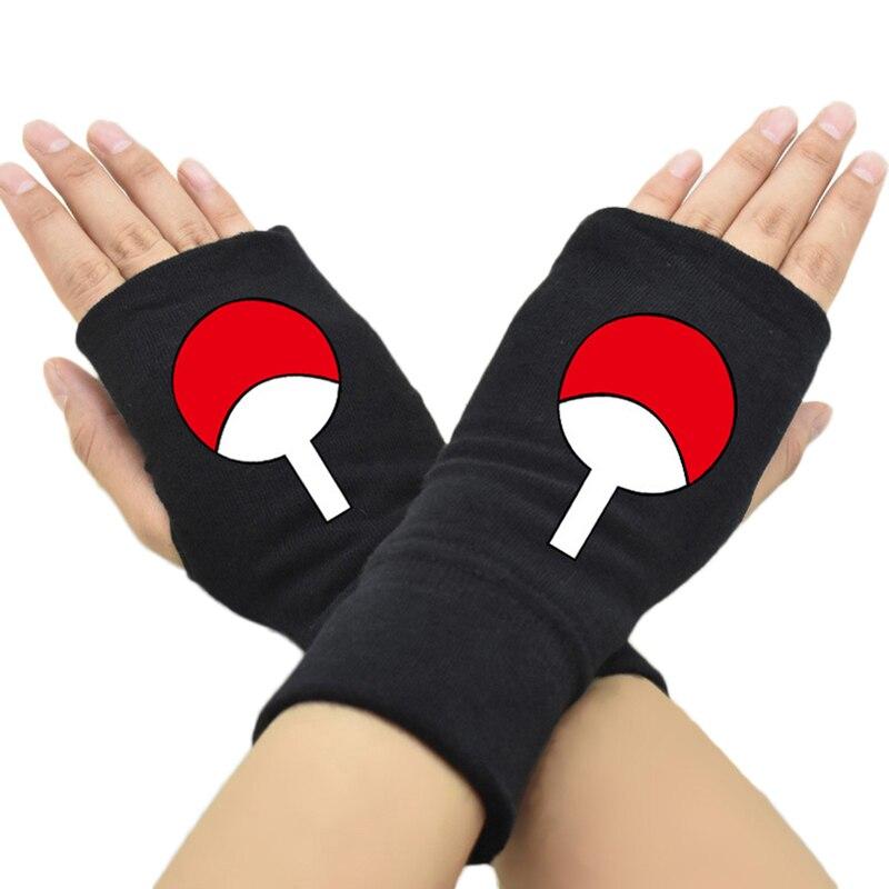 2018 New Men Women Fingerless Gloves Anime Naruto Uchiha Sasuke Cotton Knit Wrist Glove Accessories Cosplay Mitten Hip-pop