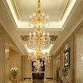 Двухуровневая позолоченная люстра для здания  светодиодная лестница  Подвесная лампа  лестница  лампа для гостиной  Ретро стиль  цинковый с...