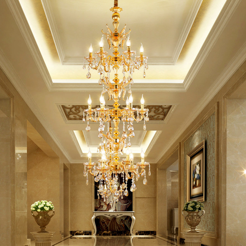 Duplex Building Plated Gold Chandelier Led Stair Hanging Lamp Staircase Lamp Living Room Retro Zinc Alloy Chandeliers Modern led