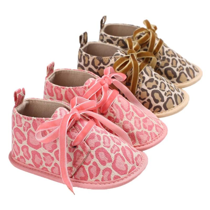 2018 Fashion Baby Shoes Newborn Leopard Autumn Spring Footwear Toddler Lace-Up Soft Bottom Prewalkers
