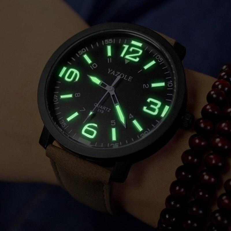 YAZOLE Men Watch Clock Leather-Band Male Sport Hot-Sale Fashion Casual Luminous Men's