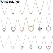 New Rotary Heart 925 Silver Necklace 397410CZ Fit Charm Original Women Jewelry Christmas Necklace 397445CZ 396235CZ 390375CZ