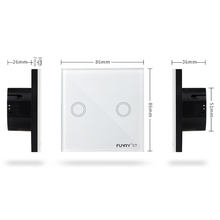 EU Wall Switch Touch Switch Sensor Switch ST1 2Gang Smart Remote Control Luxury Crystal Glass Panel Surface Waterproof RF 433MHz