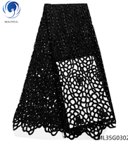 BEAUTIFICAL african guipure laces fabrics black cord lace fabrics 2019 water soluble laces dress for women 5yards/lot ML25G14