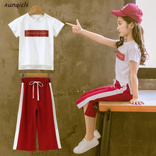 2019 New Girls Clothing Sets Summer Short Sleeve T-Shirt+Pants 2 Pcs Kids Outwear Children Clothes Suits