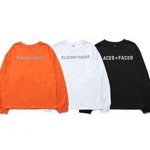 8ce1de5e 2018 Best Quality PLACES+FACES 3M Reflection Logo Printed Women Men Long  Sleeve T shirts