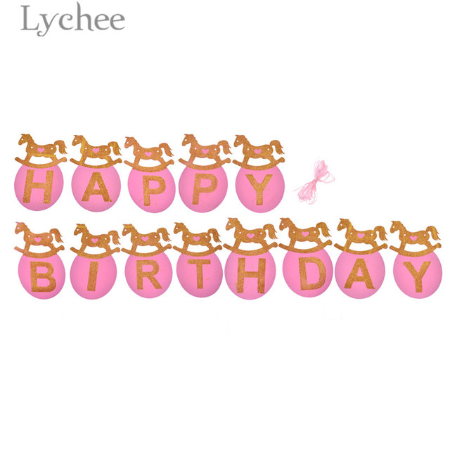 Lychee Shiny Horse Design Banners Pink Blue Happy Birthday Banner