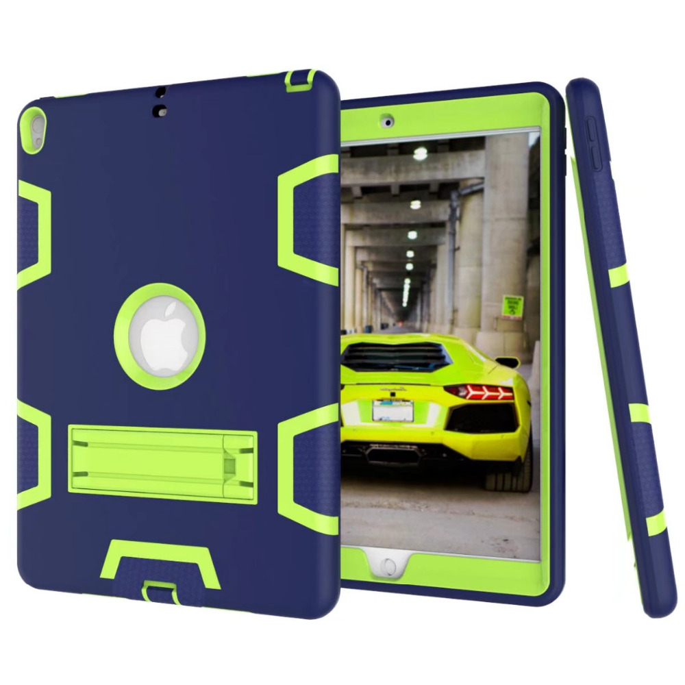 For iPad Pro 10.5 '' 360 Heavy Duty Armor Shockproof Stand Smart Case Silicone Cover for Apple iPad Pro 10.5 inch for apple ipad pro 10 5 case 2017 new defender rugged silicone pc heavy armor shockproof child stand cover for ipad pro 10 5