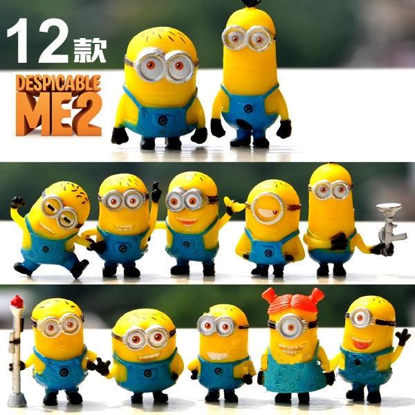 Hot Anime 12 Pcs Set Despicable Me 2 3d Minions Toy Figure Minion