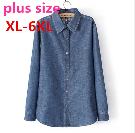 2015 new Spring summer autumn women plus size long sleeve medium-long denim shirt women's big size clothing set XL-6XL