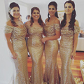 New Fashion Sexy Off Shoulder Gold Sequin Bridesmaid Dresses 2016 Floor-Length Mermaid Bridesmaid Gowns with Short Sleeves