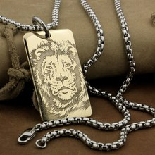 LINSION High Detail Laser Deep Engraved Brass Lion King Pendant Biker Rock Punk Style 9X025B Steel Necklace 24 inches