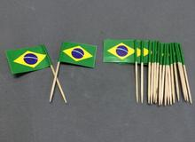 50Pcs Paper Mini Brazil Flag Pretty Party Supplies Food Picks Party Toothpicks Cupcake Toppers Cocktail Sticks