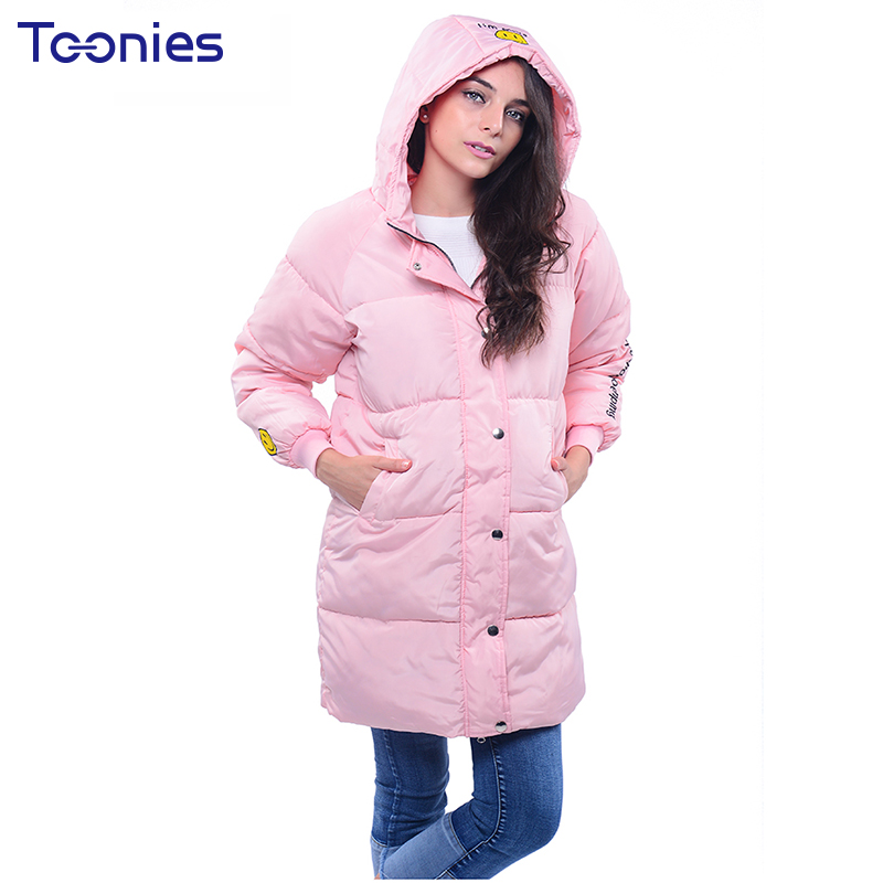 Women Winter Clothes Parkas Overcoat Padded Coat Long Jackets Hooded Pockets Letter Smile Face Plus Size Oversized Warm Tops plus size 3xl women winter parkas coat padded jacket hooded thick overcoat warm letter medium long female tops jackets outwear