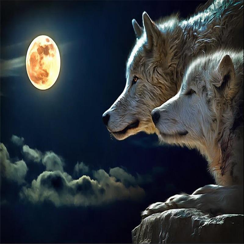 Pared Decoración De Papel 3d Noche Brillante Redondo Lobos Luna