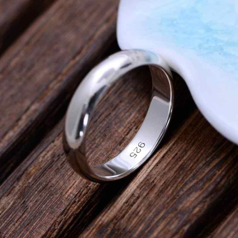 Véritable pur 925 bagues en argent Sterling pour les femmes et les hommes Simple Couple anneau lisse alliance pour les amoureux