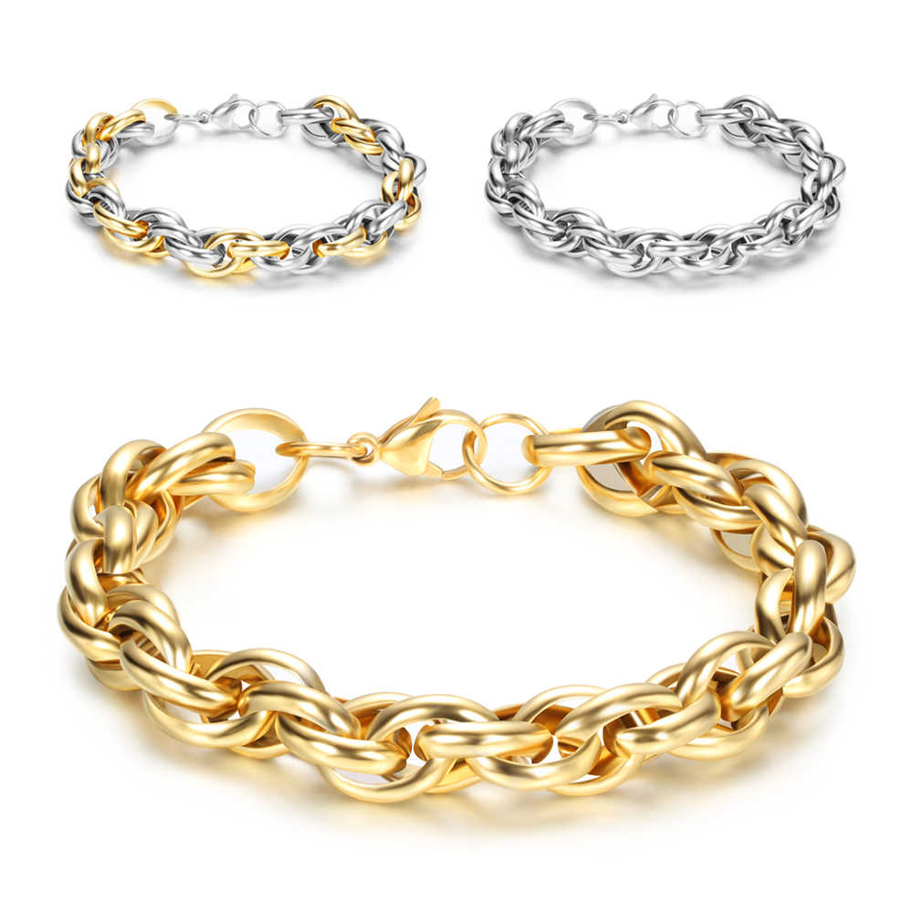 Gold Color Stainless Steel Bracelet Cool Rock Style New 23cm 9MM Thick Chain Link Bracelet Men Jewelry Wholesale