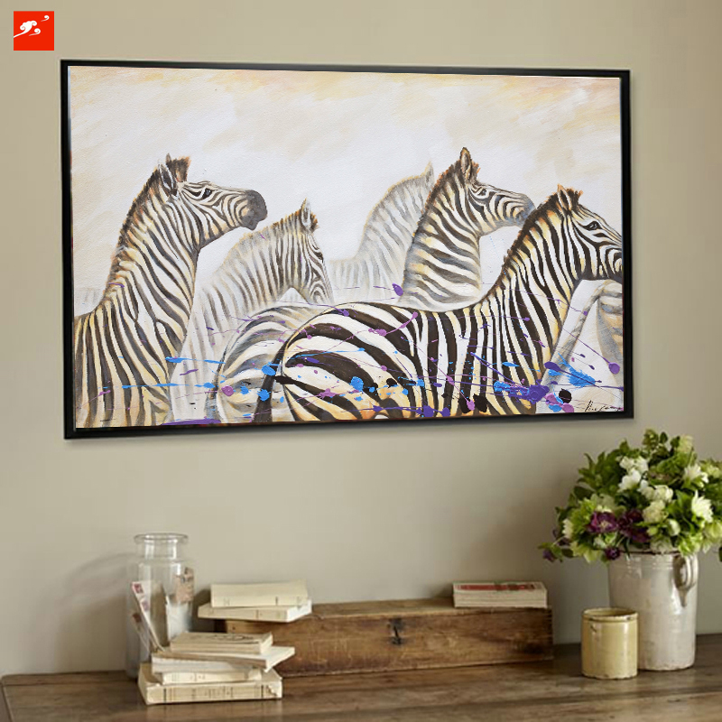 High quality wildlife zebra canvas oil painting on for Quality home decor