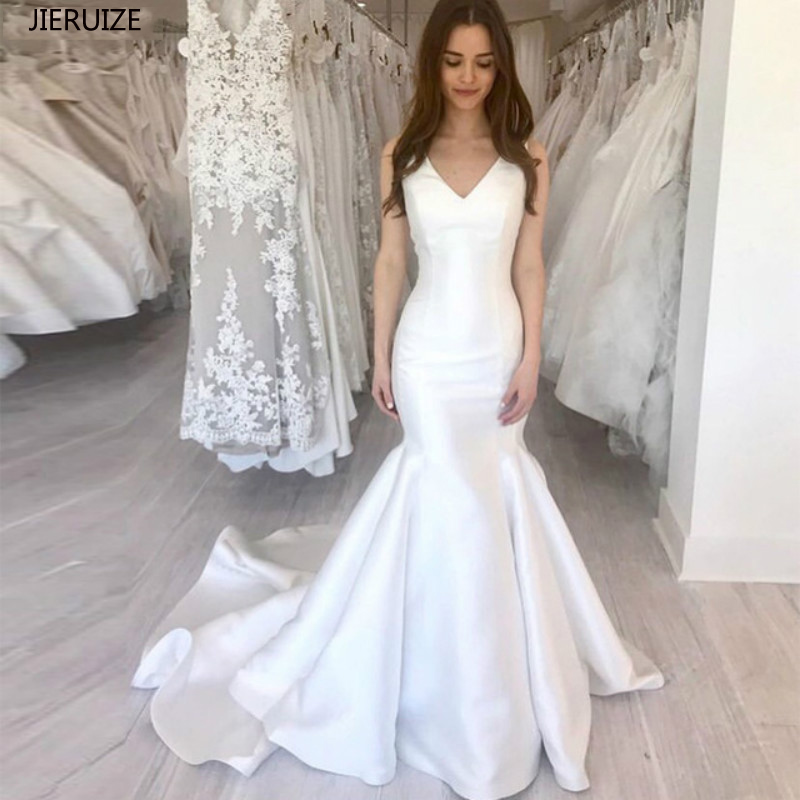 JIERUIZE White Satin Mermaid Simple Wedding Dresses 2019 V-neck Lace Up Back Boho Bride Dress Cheap Wedding Gowns Robe De Mariee