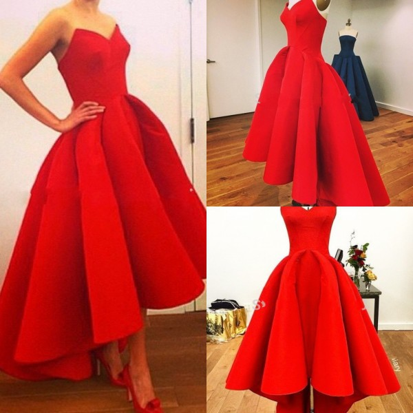 Vestidos New Sweetheart Puffy Satin Red Hi Low Summer Myriam Fares Party Celebrity Hot 2018 Gorgeous