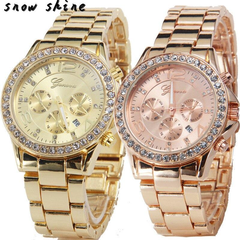 snowshine 10xin Date Quartz Wrist Watch Female font b Luxury b font Crystal Lady Ladies Watch