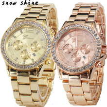 snowshine #10xin     Date Quartz Wrist Watch Female Luxury Crystal Lady Ladies Watch  free shipping