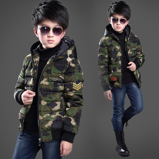Fashion Boy Algodão-acolchoado camuflagem Roupas Jaquetas/Rússia Casacos de Bebê casaco de Inverno Grosso Casaco Quente Crianças Outerwears Jaquetas