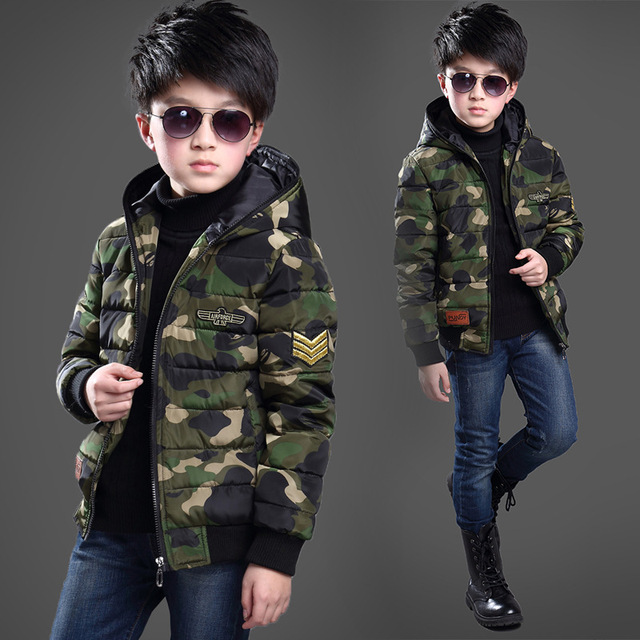 Fashion Boy Cotton-padded camouflage Clothes Jackets/coat Winter Russia Baby Coats Thick Warm Jacket Children Outerwears Jackets