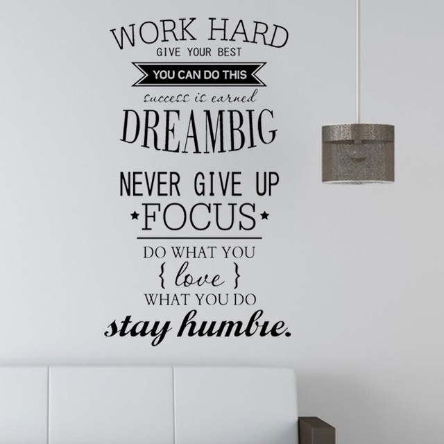 Motivation Wall Decals Office Room Decor   Never Give Up Work Hard , Dream  Big Inspirational