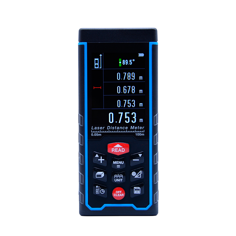 SW-S100 100m Color display Rechargeable baatery Laser distance meter Rangefinder Tape with Bubble Level measure Area/Volume Tool drill buddy cordless dust collector with laser level and bubble vial diy tool new