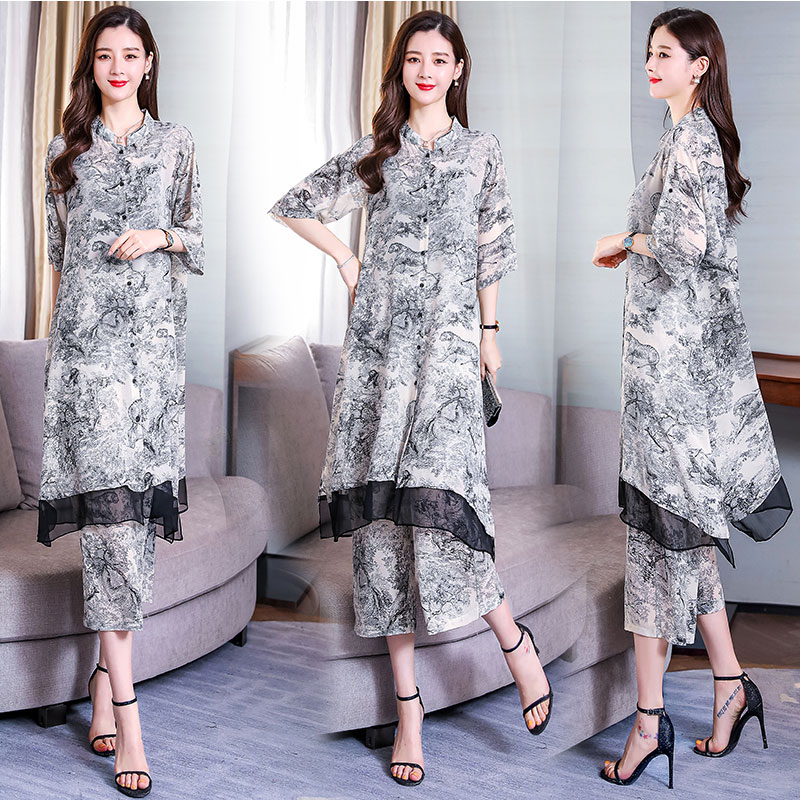 Shen joy Chinese Style Two Piece Set Top And Print Retro 2 Piece Outfits For Women