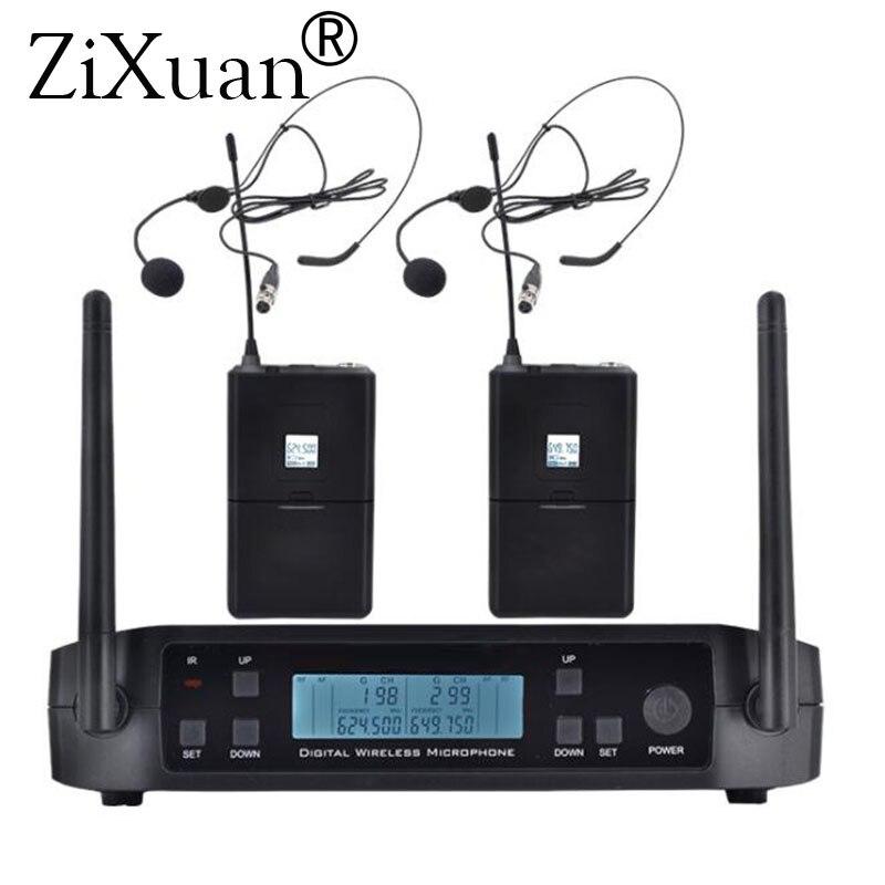 Système professionnel sans fil de Microphone de karaoké tenu dans la main d'uhf fréquence réglable de 2 canaux sans fil pour l'église