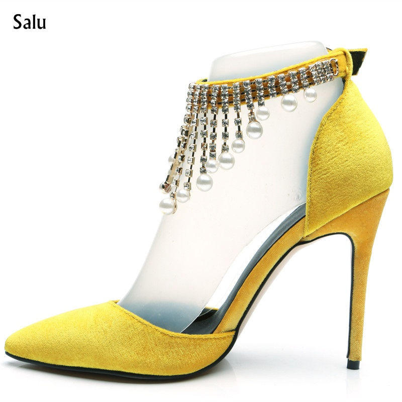 Salu Bling Bling Crystal High Heel Women Sandals Sexy Pointed Toe Stiletto Pumps Ankle Strap Heels Bridal Wedding Party Shoes quanzixuan women pumps sexy high heels bling women shoes fashion wedding shoes pointed toe stiletto gold party ladies shoes