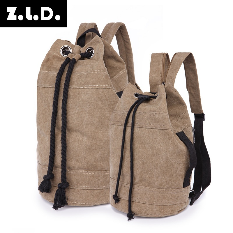 Fashion Retro Backpack Canvas Lovers Bucket Bag Women Shoulder Bags Men Ladies Crossbody School Bags For Beach aosbos fashion portable insulated canvas lunch bag thermal food picnic lunch bags for women kids men cooler lunch box bag tote