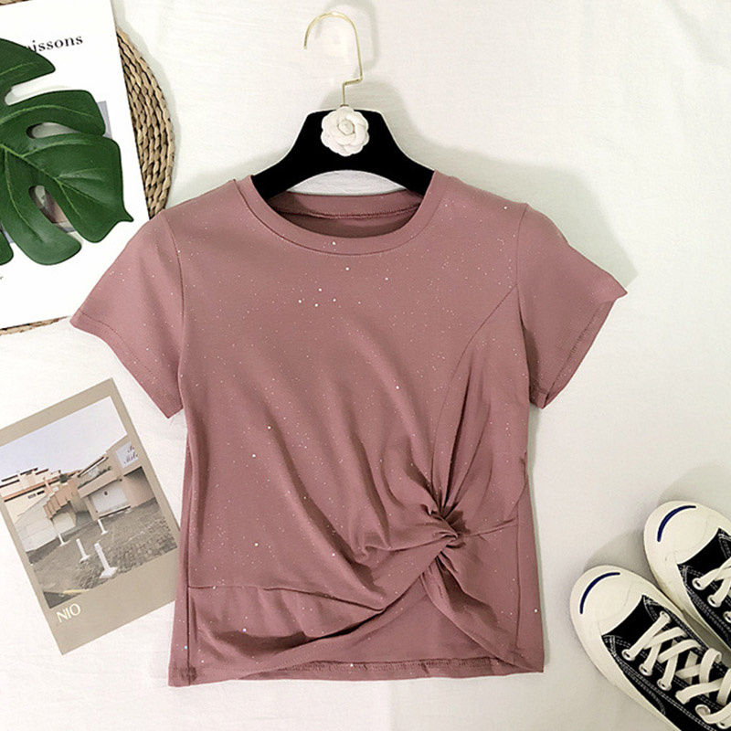 Women Tshirt Summer Casual Comfortable All-match Sparkly Summer T Shirt Twist Knot Short Sleeve Crop T-shirt Streetwear