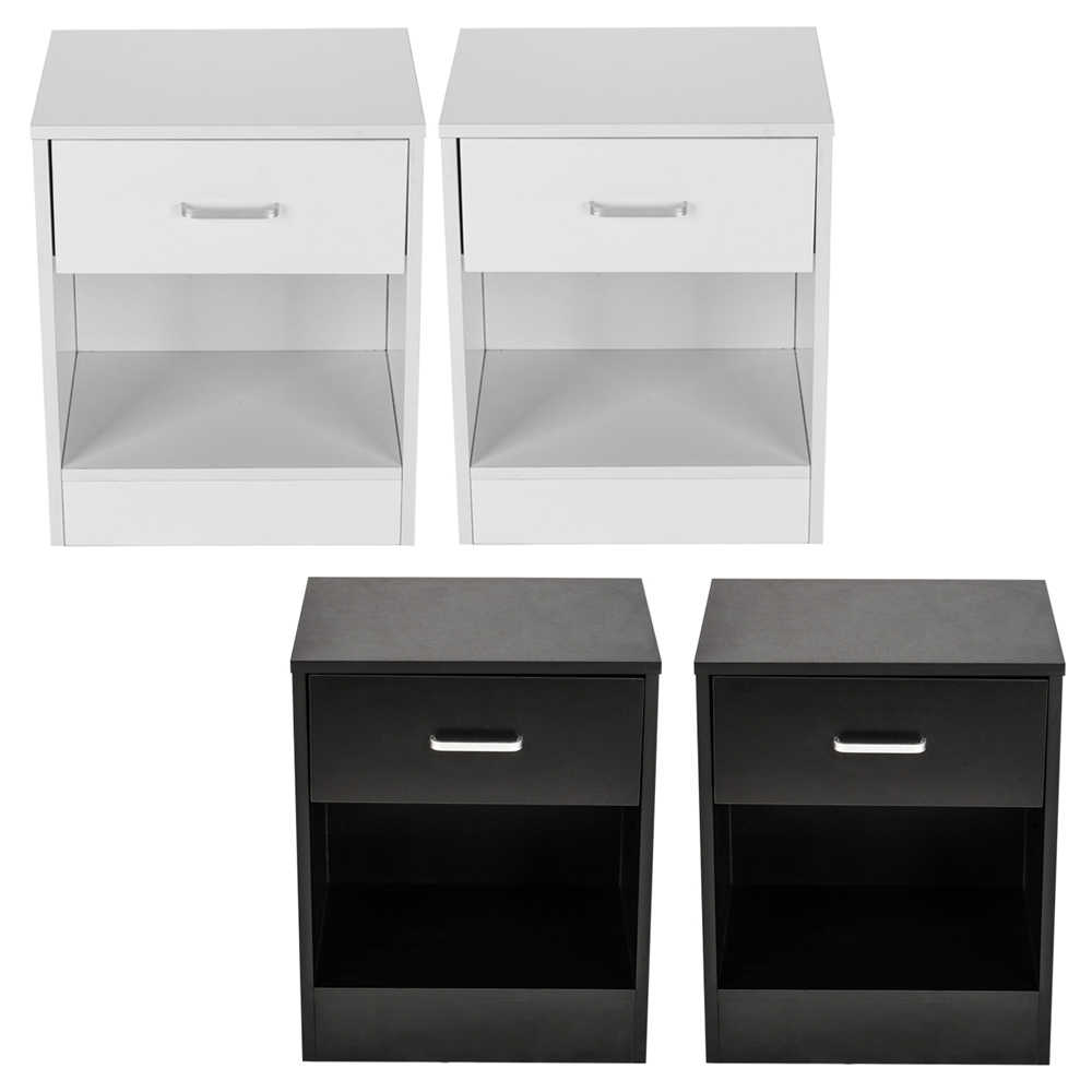 2 x Bedside Table Nightstand with Drawer Bedroom Furniture Storage Black White US Shipping