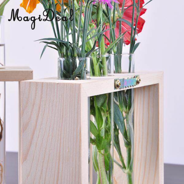 Online Shop Magideal Wall Hanging Crystal Glass Test Tube Vase In