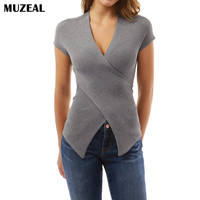 Muzeal Summer Cross V Neck Woman Tops Tee Shirts Irregular Hems Short Sleeve Fitted Lady Night