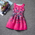 Hot sale fashion colorful butterfly patterns rose pink dresses sleeveless O-neck casual girls dress A-line knee-Length clothes