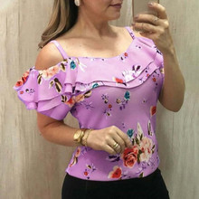 blusas mujer de moda 2019 women's blouse shirt Women Casual Off Shoulder Floral Print Blouse Short Sleeve Loose Top Shirt Tee