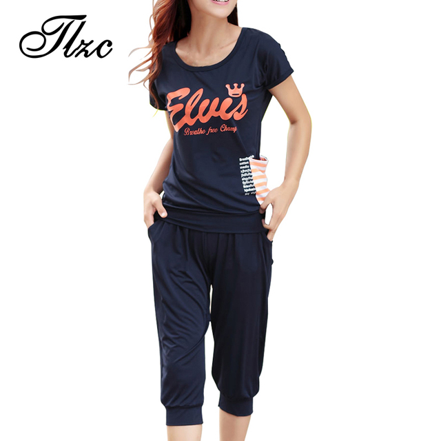 Popular Style Women T-Shirt + Capris Casual Set Plus Size M-4XL Comfortable Design Ice Cotton Lady Fashion Suits