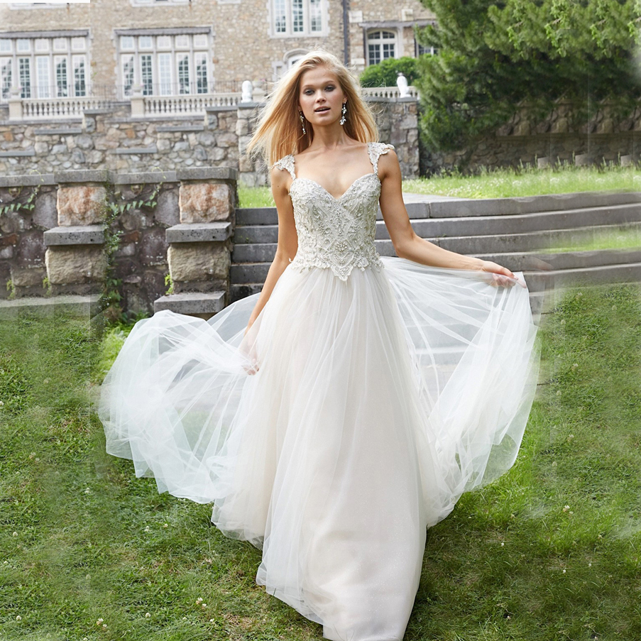 Online Get Cheap Champagne Lace Wedding Dress Cap Sleeves ...