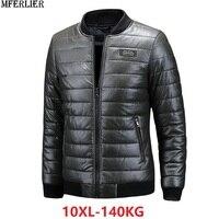 MFERLIER Plus Size large 8XL faux Leather Jackets 9XL 10XL Men Winter Baseball Collar Mens Leather black Motorcycle Jackets Coat