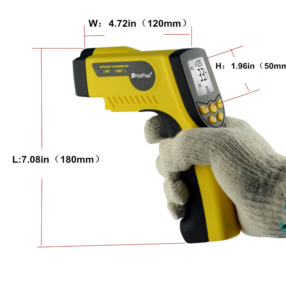 Outdoor Infrared Thermometer HP-1300 Digital Thermometer Termometro Infravermelho for Pyrometer Temperature Instruments -50~1300 hp 920 pocket size digital infrared thermometer with measuring 50 920c