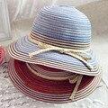 Лето женский смешивается - цвет multicolour небольшой свежий полоса складной полями купол strawhat пляж sunhat для женщин