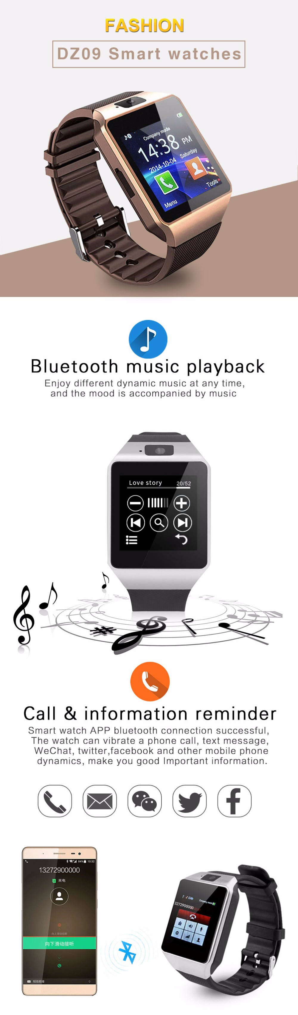 e2a492b162b2 Bluetooth Smart Watch Smartwatch DZ09 Android Phone Call Relogio 2G ...