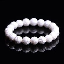 10mm Natural Stone Beads Tridacna Stone White Round Beads For Jewelry Making Gourd mala Prayer Bracelet for Meditation