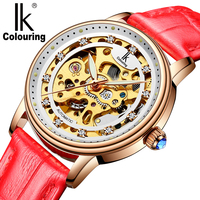 IK Luxury Women Clock Automatic Mechanical Wrist Watches Ladies Fashion Casual Rose Gold Case Rhinestone Dial Analog Wristwatch